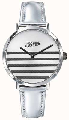Jean Paul Gaultier Glam Navy Womens Silver Leather Strap Watch JP8505607