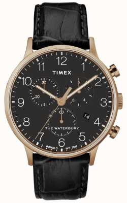 Timex Mens Waterbury Classic Rose Gold Watch Black Strap TW2R72000D7PF