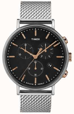 Timex Fairfield Chronograph Silver Mesh Watch Black Dial TW2T11400D7PF
