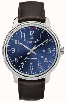 Timex Men's Metropolitan Brown Leather Watch Blue Dial TW2R85400