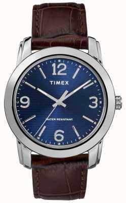 Timex Men's Brown Leather Crocodile Strap Blue Dial TW2R86800