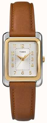 Timex Women's Brown Leather Strap Silver Tone Dial TW2R89600D7PF
