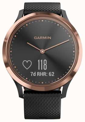 Garmin Vivomove HR Activity Tracker Black Rubber Rose Gold Case 010-01850-06