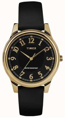 Timex Womens Classic Black Leather Strap Black Dial Watch TW2R87100