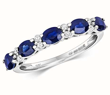 Treasure House 9k White Gold Claw Set Sapphire Diamond Half Eternity Ring RD440WS