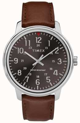 Timex Mens Classic Tan Leather Black Dial TW2R85700