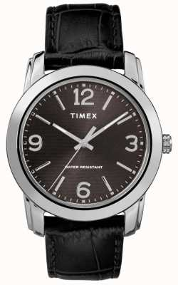 Timex Mens Classic Black Leather Croc Strap Black Dial TW2R86600