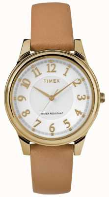 Timex Womens Classic Tan Leather Strap Silver Dial With Gold Tone TW2R87000