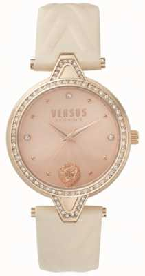 Versus Versace Womens V Versus Stone Set Rose Gold Dial Pink Leather Strap SPCI330017