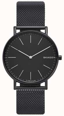 Skagen Mens Signatur Stainless Steel Black Mesh Bracelet Black Dial SKW6484