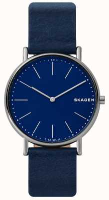 Skagen Mens Signatur Blue Leather Strap Titanium Case Blue Face SKW6481