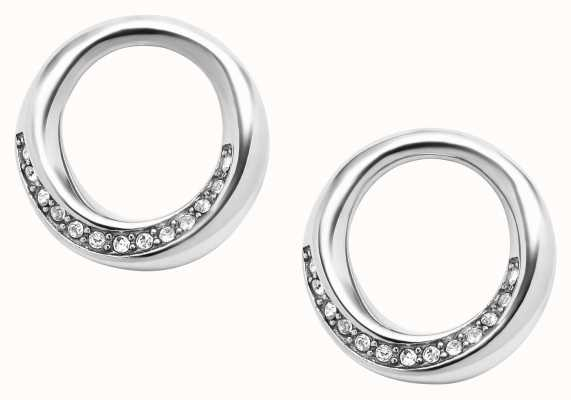 Fossil Stainless Steel Crystal Set Circle Earrings JF03014040