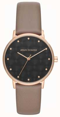 Armani Exchange Armani Exchange Ladies Dress Watch Brown Leather Strap AX5553