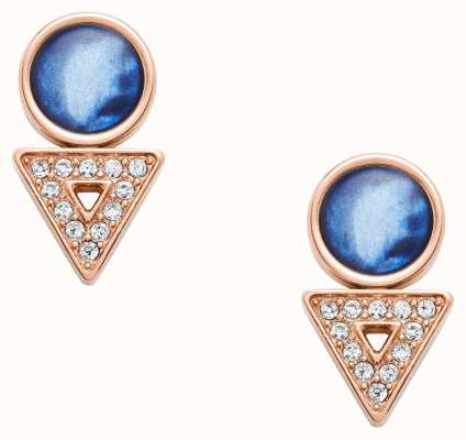 Fossil Womens Rose Gold Tone Blue Mother of Pearl Earrings JF03009791