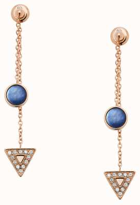 Fossil Womens Rose Gold Tone Blue Mother of Pearl Drop Earrings JF03010791