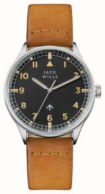 Jack Wills Mens Camperdown Black Dial Brown Leather Strap JW001CASS