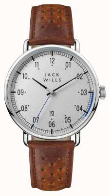Jack Wills Mens Acland Silver Dial Brown Leather Strap JW003SLBR