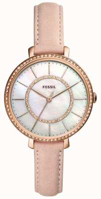 Fossil Womens Beige Leather Strap Stainless Steel Mother Of Pearl ES4455