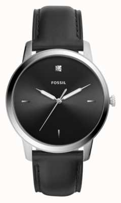 Fossil Mens Black Leather Strap Stainless Steel Case Black Dial FS5497
