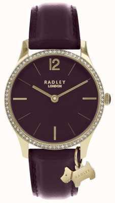 Radley Ladies Watch Purple Leather Strap Gold Case RY2708