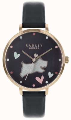 Radley Ladies Watch Black Dog Ink Strap Rose Gold Case RY2680