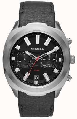Diesel Mens Tumbler Watch Black Leather Strap DZ4499