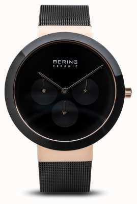 Bering Ceramic | Polished Rose Gold Case | Black Dial 35040-166
