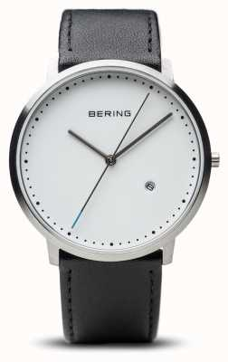 Bering Unisex White Dial Black Leather Strap 11139-404