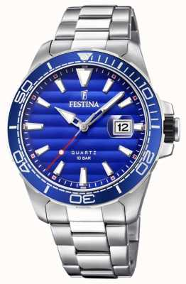 Festina Mens Stainless Steel Metal Bracelet Blue Face F20360/1