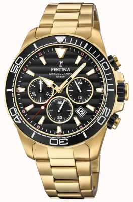 Festina Mens Gold Stainless Steel Chronograph Black Dial F20364/3