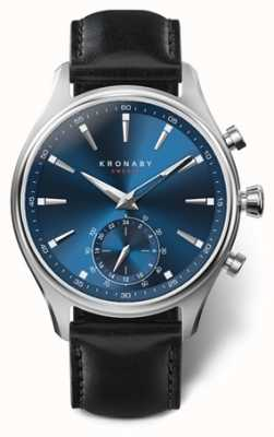 Kronaby Mens Sekel 41 |Stainless Steel | Blue Dial | Black leather A1000-3758