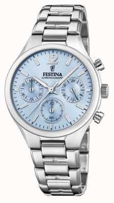 Festina Womens Boyfriend Chronograph Stainless Steel Blue Dial F20391/3