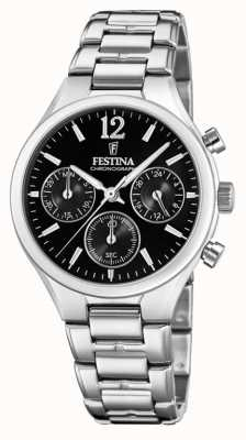 Festina Womens Boyfriend Chronograph Stainless Steel Black Dial F20391/4