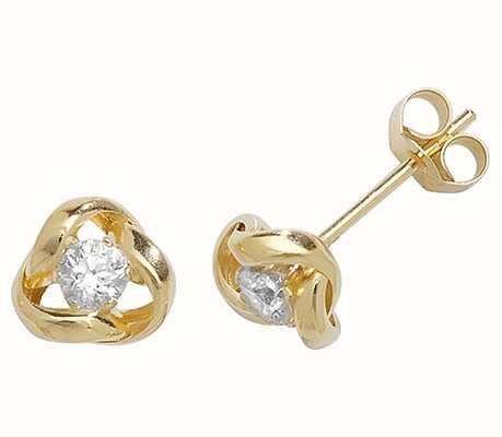 Treasure House 9k Yellow Gold Cubic Zirconia Stud Earrings ES355