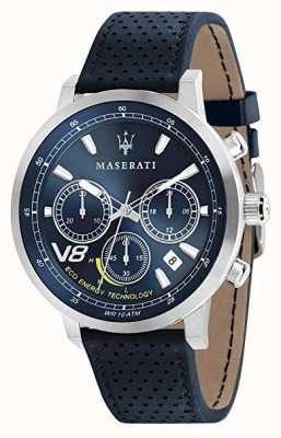 Maserati Mens GT 44mm | Solar |Silver Case | Blue Dial | Blue Leather R8871134002