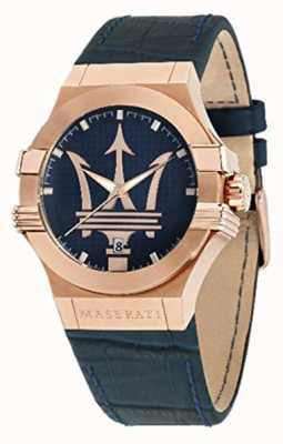 Maserati Mens Potenza 42mm | Gold Plated Case | Blue Dial R8851108027