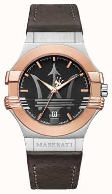 Maserati Mens Potenza 42mm | Gold Plated Stainless Steel | Brown Stra R8851108014