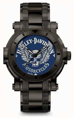 Harley Davidson Mens For Him | Black Stainless Steel Bracelet | Blue Dial 78A117