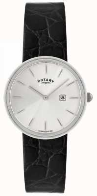 Rotary Mens Black Leather Strap | Silver Dial GS21226/06
