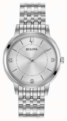 Bulova Women's Diamond Dial Stainless Steel Bracelet 96P183