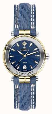 Michel Herbelin Womens Newport Blue Strap Gold Plated 14255/T35
