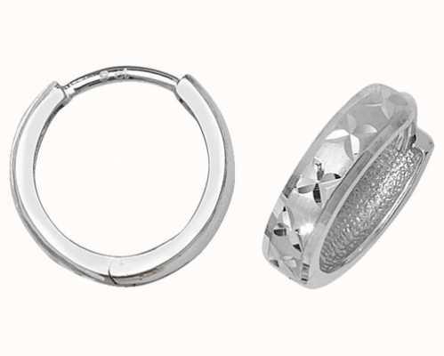 Treasure House 9k White Gold Diamond Cut Hinged Hoop Earrings ER013W