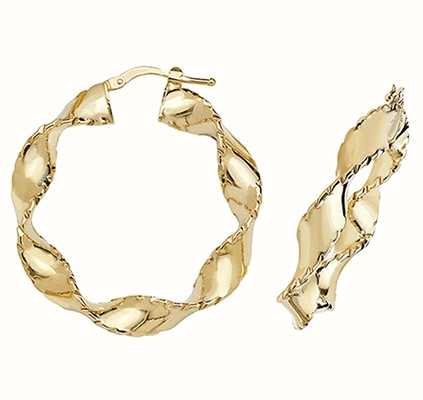 Treasure House 9k Yellow Gold Twist Hoop Earrings 25 mm ER204N