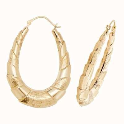 Treasure House 9k Yellow Gold Creole Oval Hoop Earrings ER403