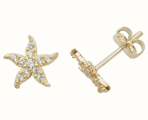 Treasure House 9k Yellow Gold Cubic Zirconia Starfish Stud Earrings ES459