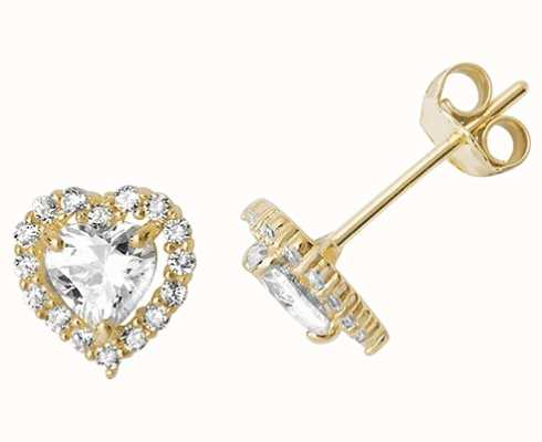 Treasure House 9k Yellow Gold Heart Cubic Zirconia Stud Earrings ES524