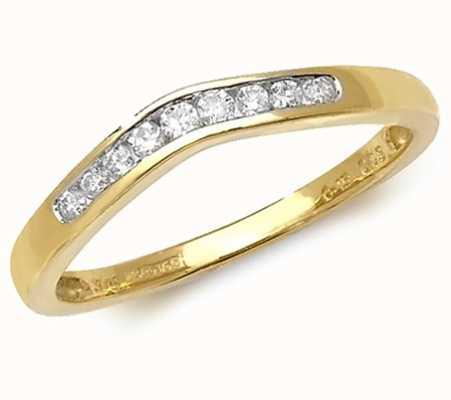 Treasure House 9k Yellow Gold Diamond Channel Wishbone Ring RD384