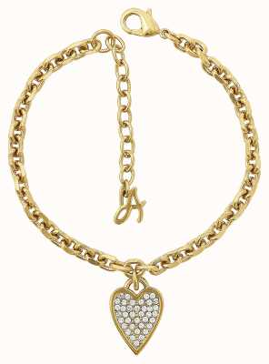 """Adore By Swarovski Pointed Heart Charm Bracelet 6.5-8"""" Gold Plated 5303084"""