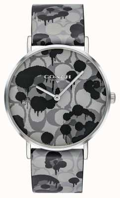 Coach | Womens Perry Watch | Grey Leather Strap Floral Design | 14503248