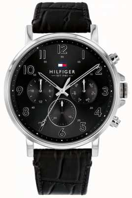 Tommy Hilfiger | Men's Black Leather Daniel Watch | 1710381